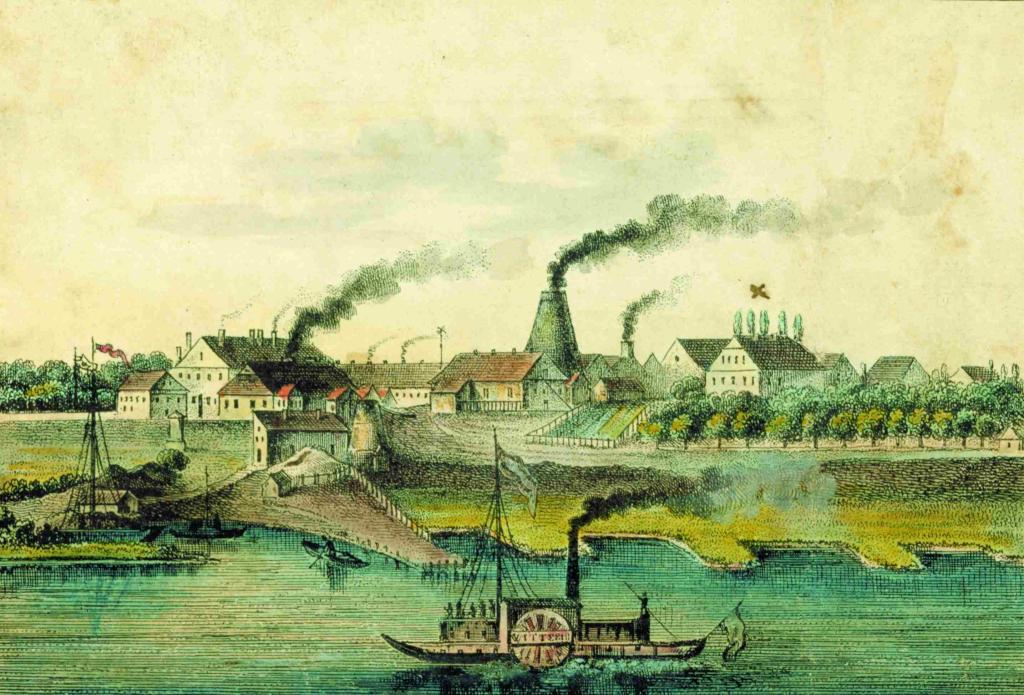 Glashütte Gernheim: Weserpanorama von 1845