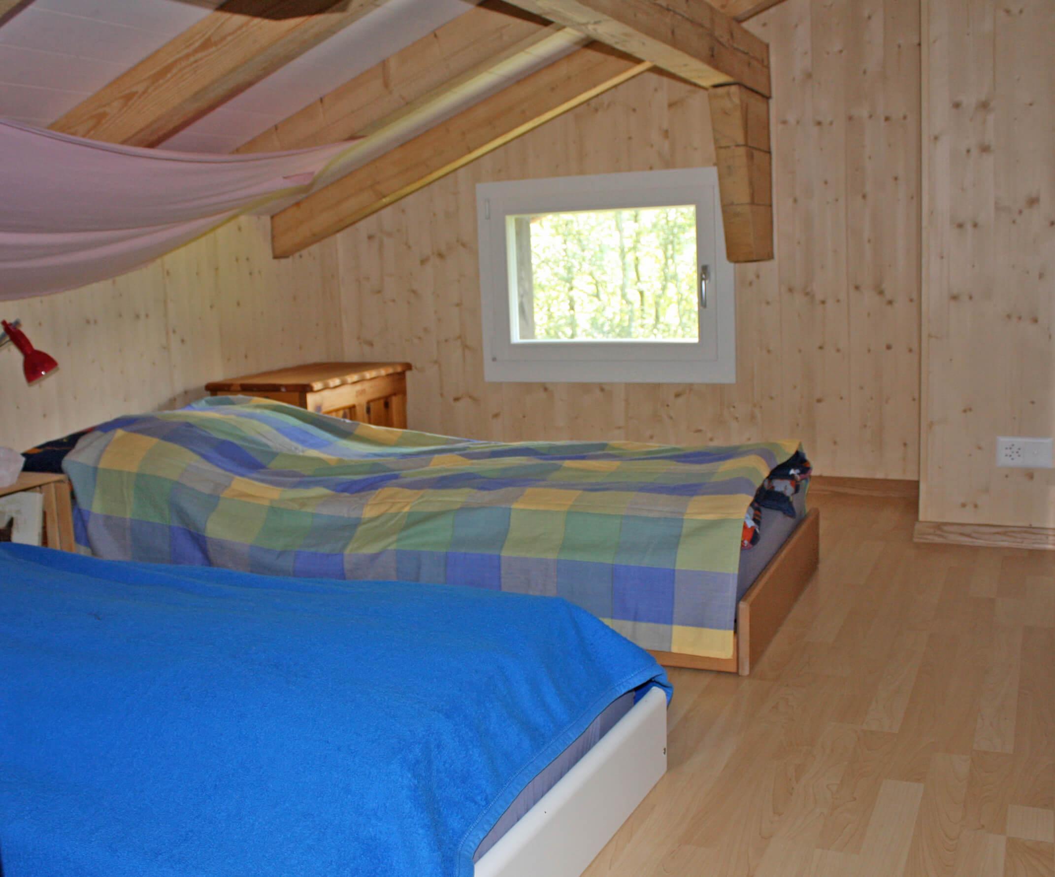 Schlafzimmer Betten Chalet Pörtli