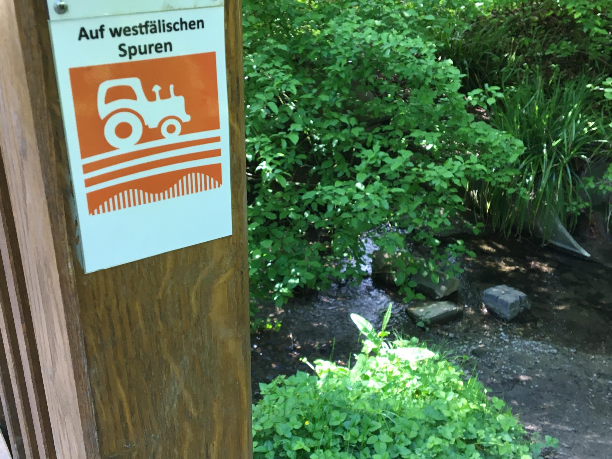 Brücke am Grünzug Mühlenwiese mit Markierungszeichen