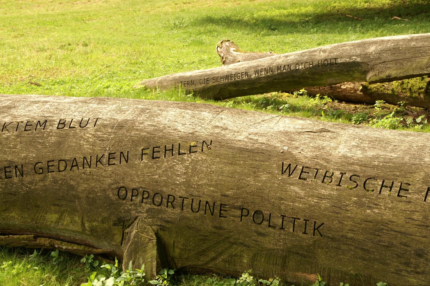 Sinnsprüche der Kaiserring-Trägerin Jenny Holzer zieren alte Stämme