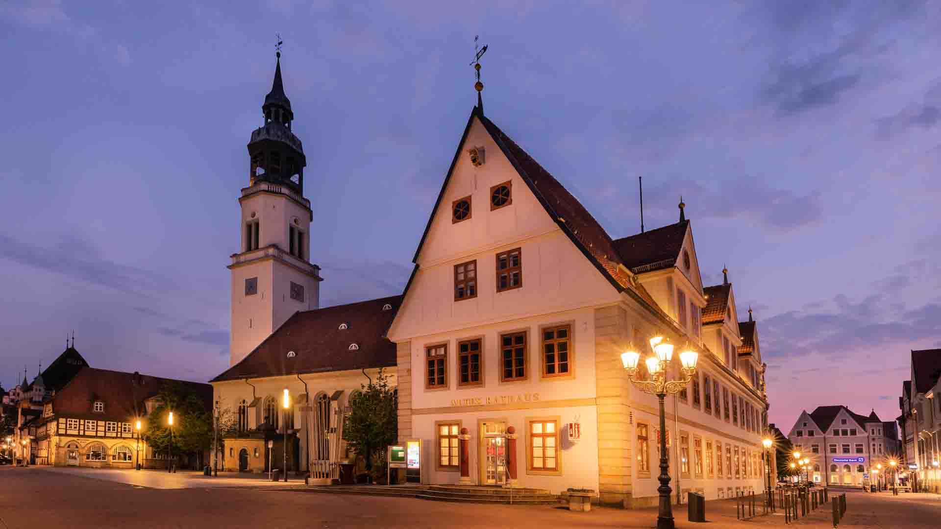 Altes Rathaus in Celle am Abend