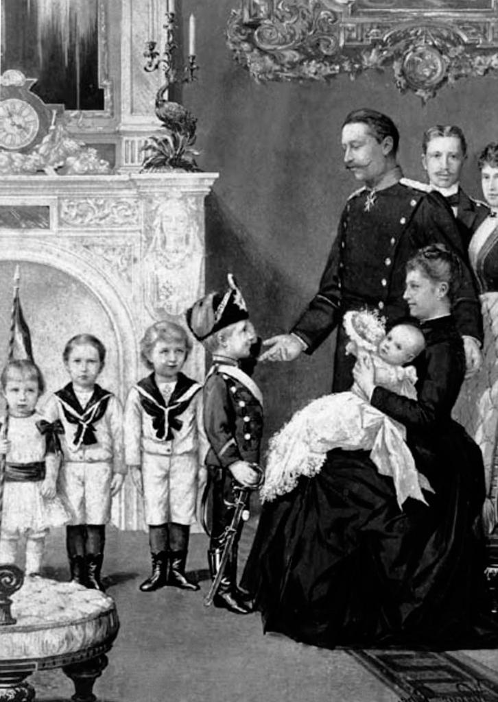Postkarte mit Kaiser Wilhelm II. und seiner Familie