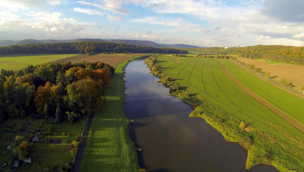 die Weser bei Wehrden Richtung Norden