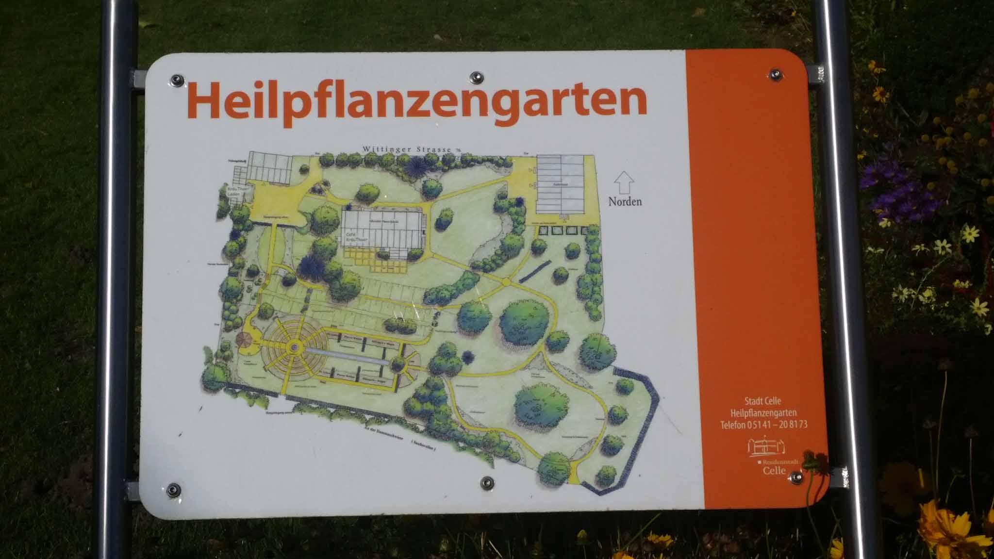 Übersichtsplan im Heilpflanzengarten Celle
