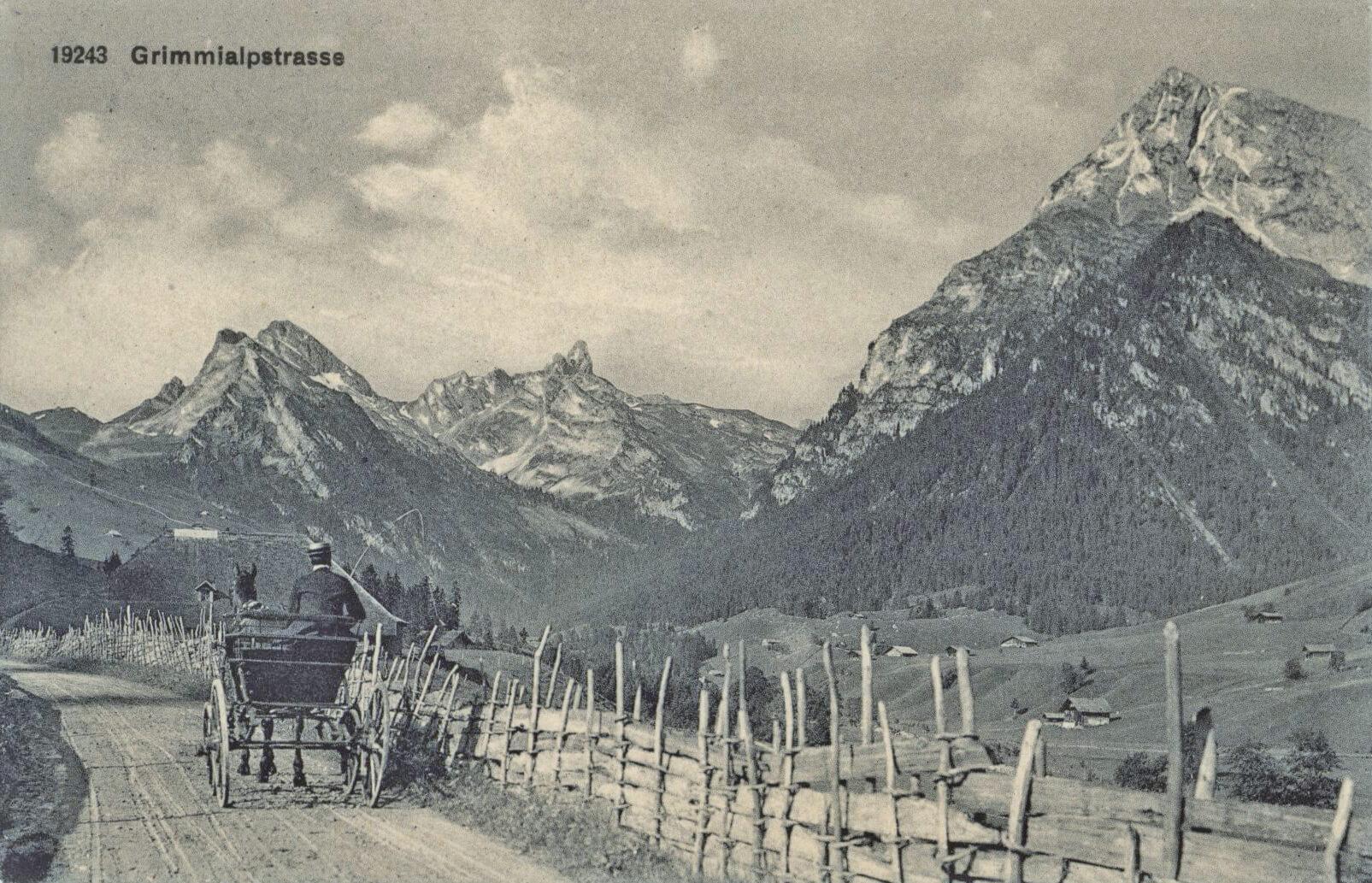 Mit Pferd und Kutsche auf der alten Grimmialpstrasse