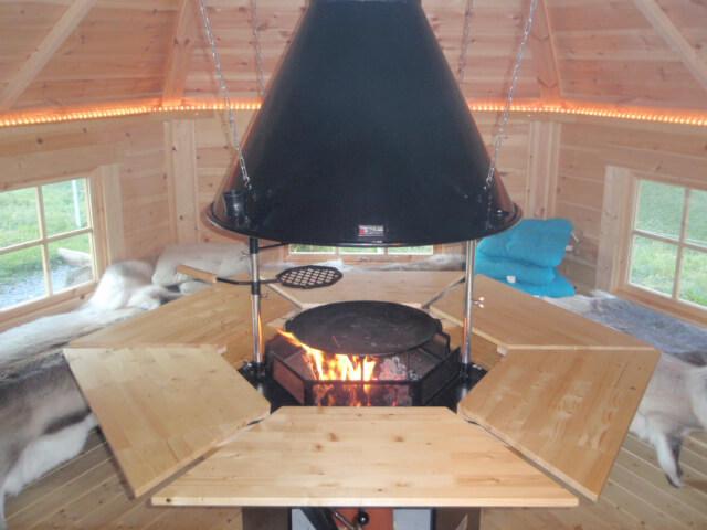 In der Mitte die Feuerstelle mit Sitzgelegenheiten rundum