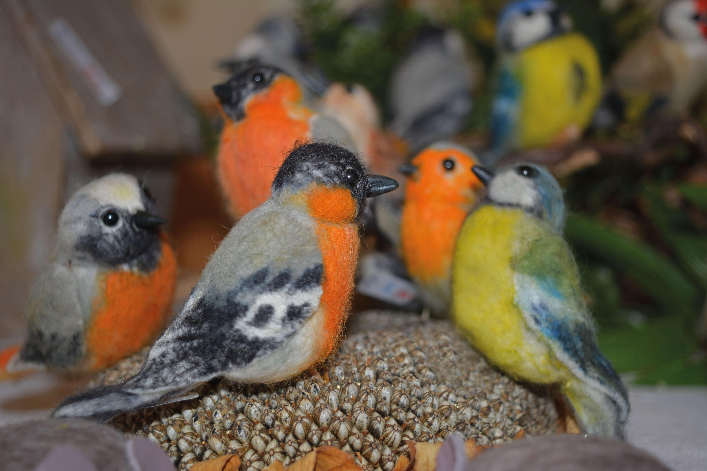 Lustige kleine Filzvögel täuschend echt