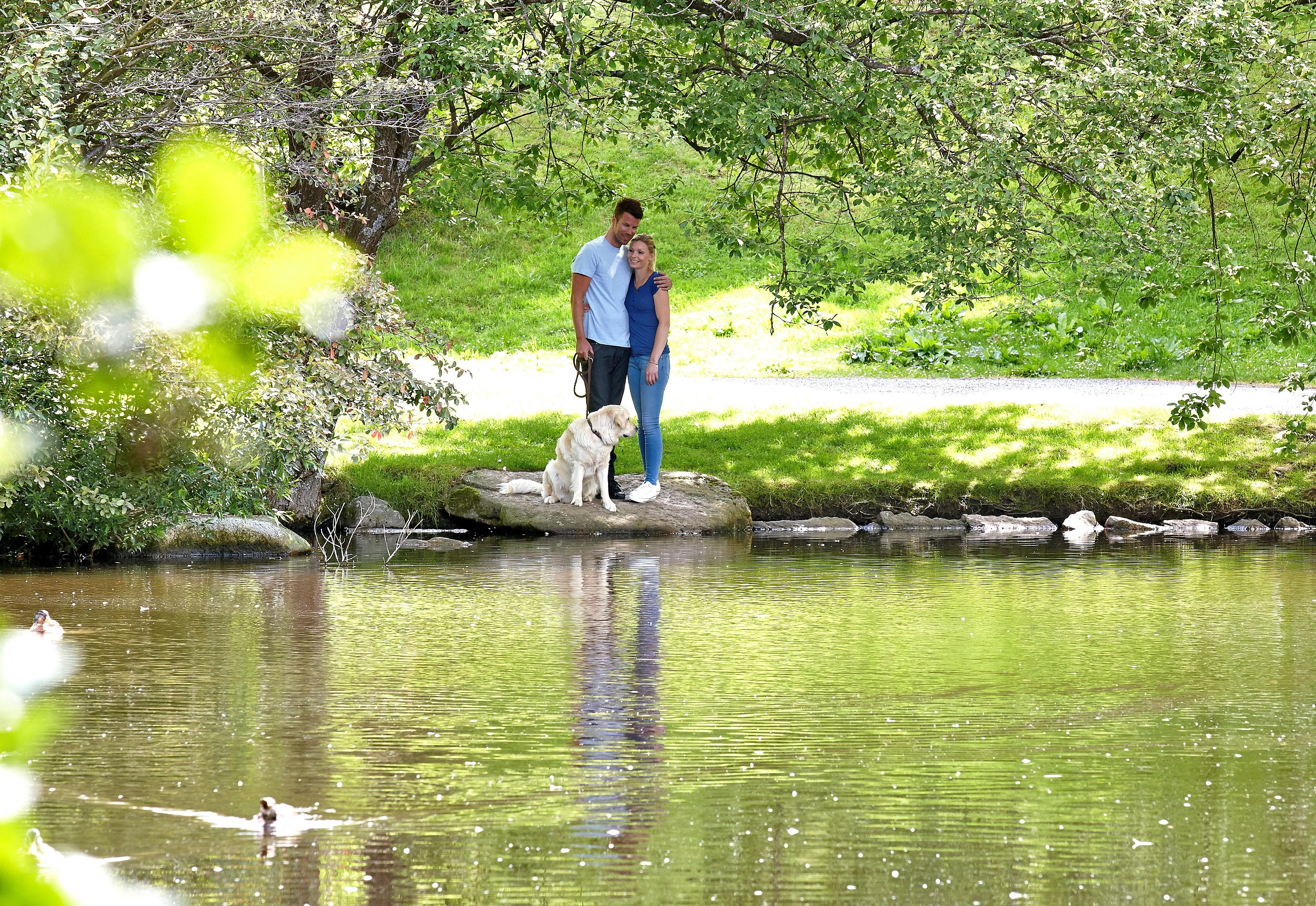 Pärchen beim Spaziergang mit dem Hund