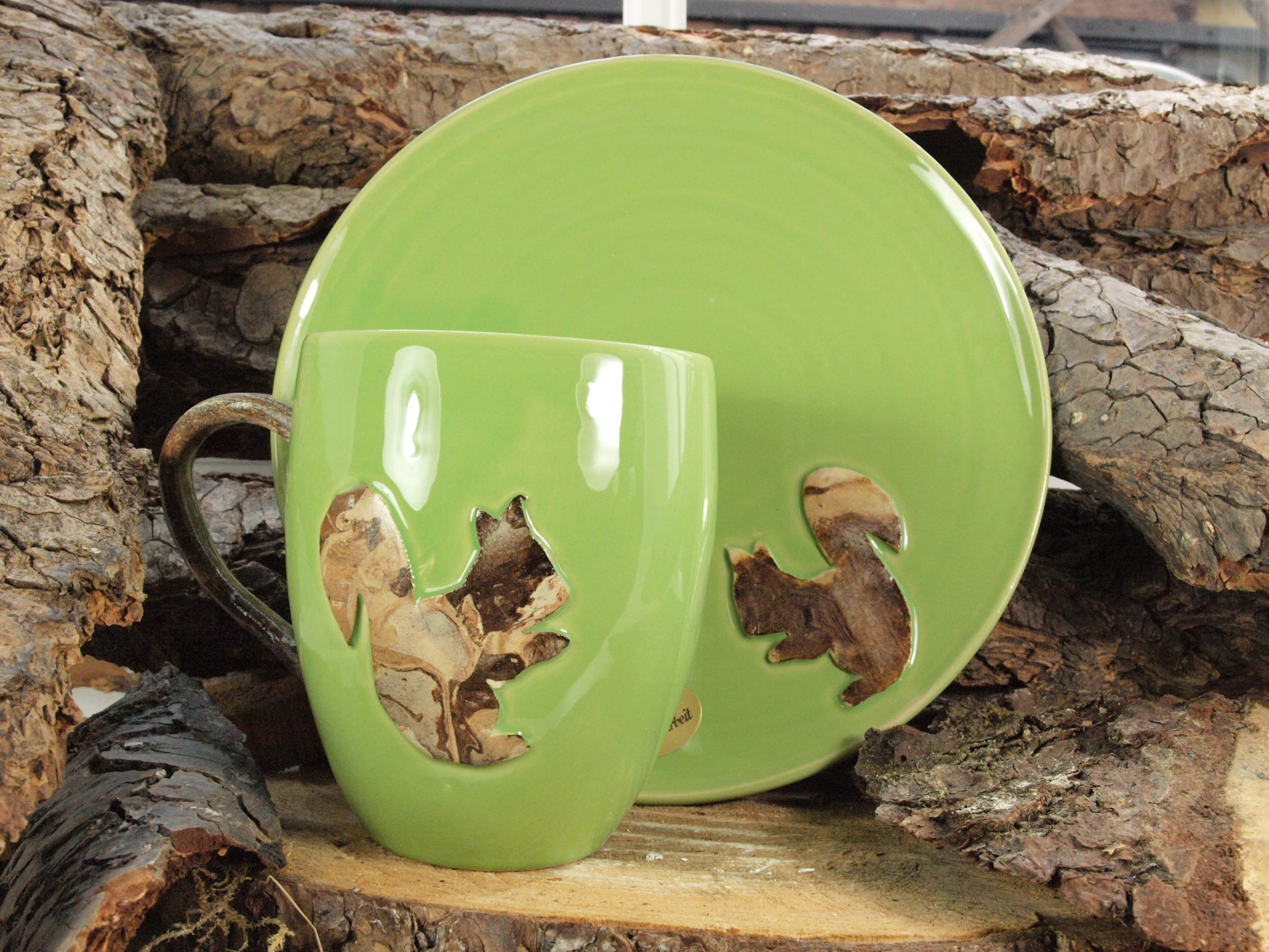 Harz Keramik - Teller und Kaffeetasse