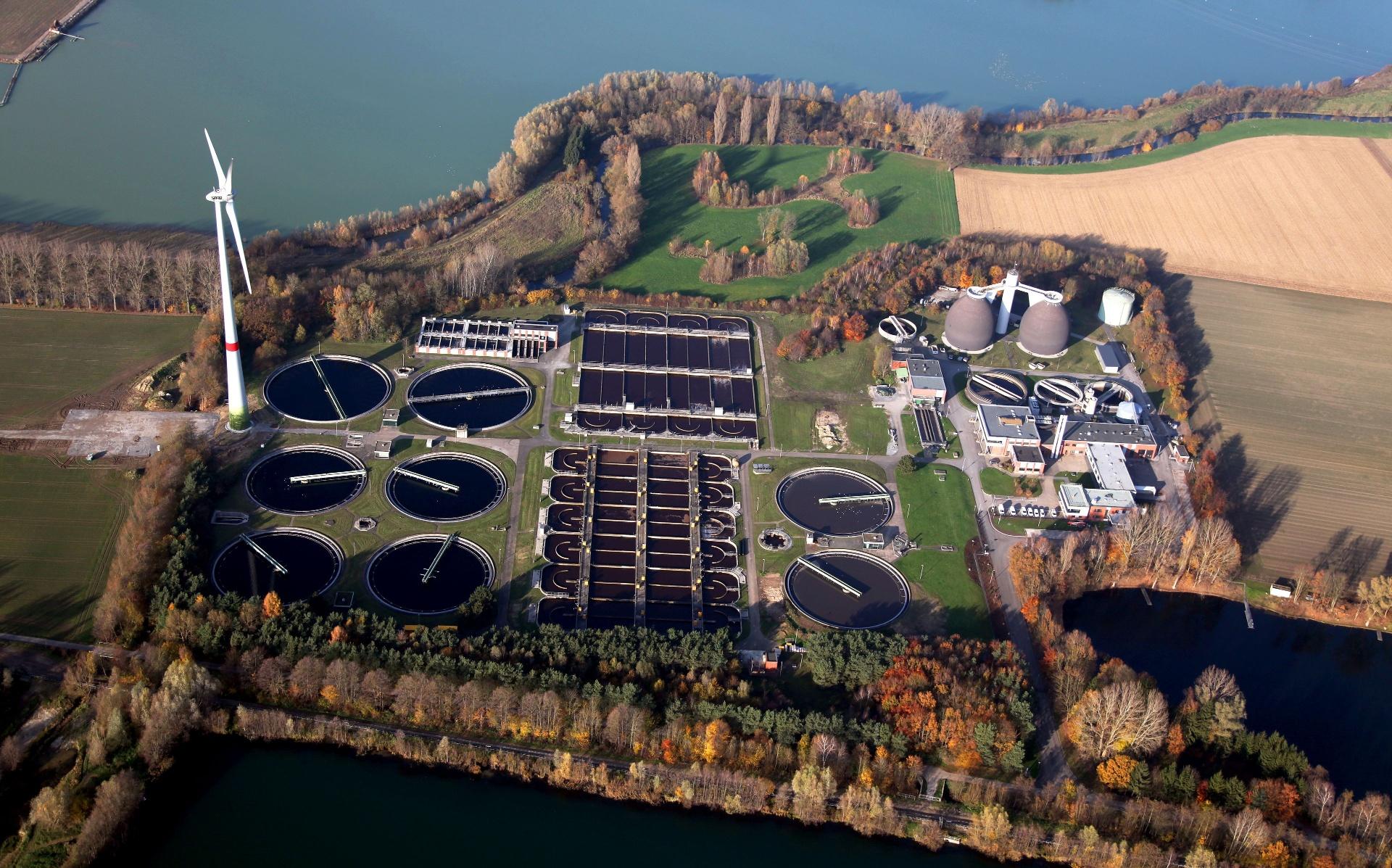 Luftaufnahme der Kläranlage Paderborn