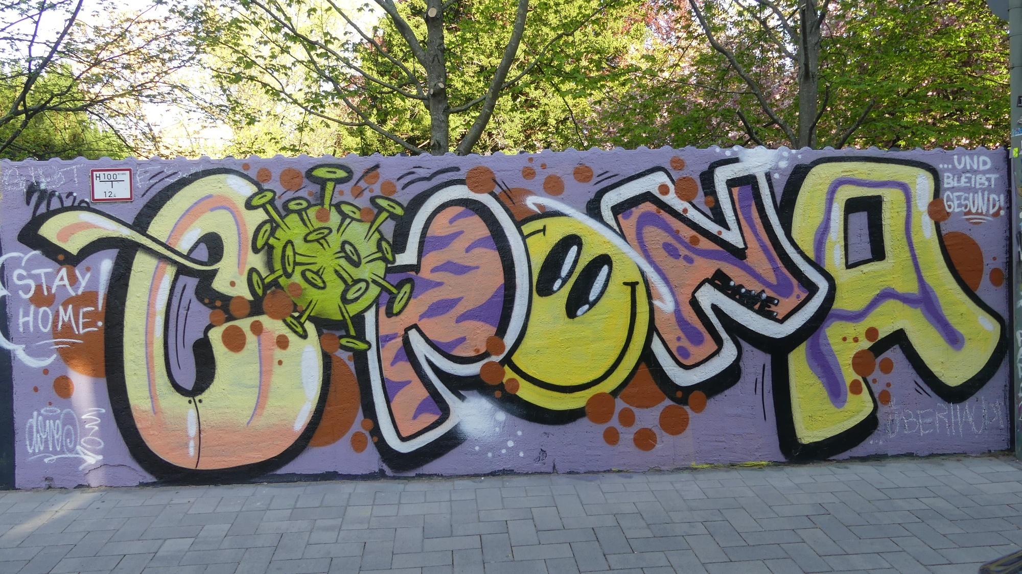 "Graffiti ""Corona"" an der Graffitimauer ""Busdorfgalerie"""