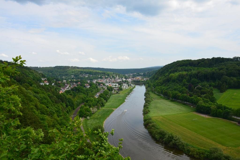 Blick vom Weserskywalk bei Bad Karlshafen