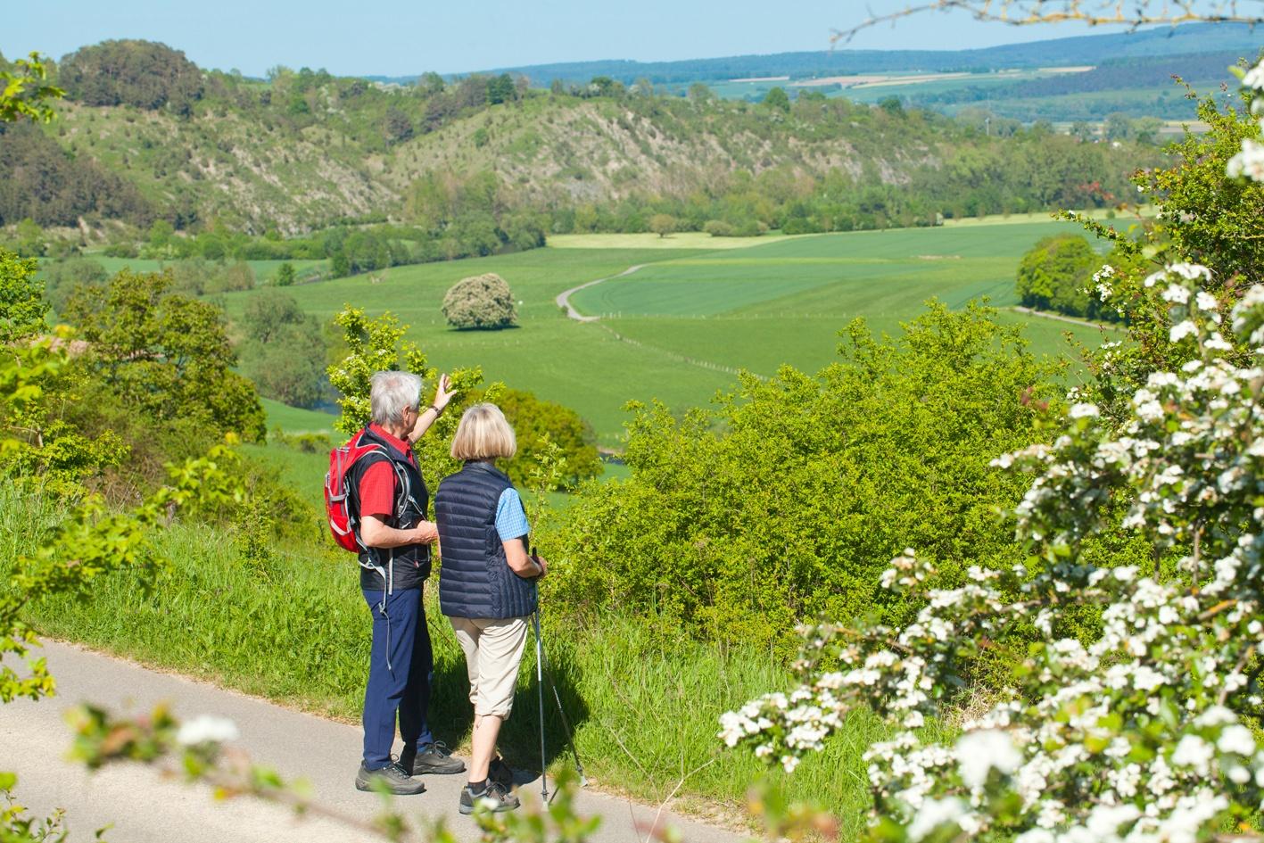Wanderer bei Lamerden blicken auf Bunten Berg Eberschütz