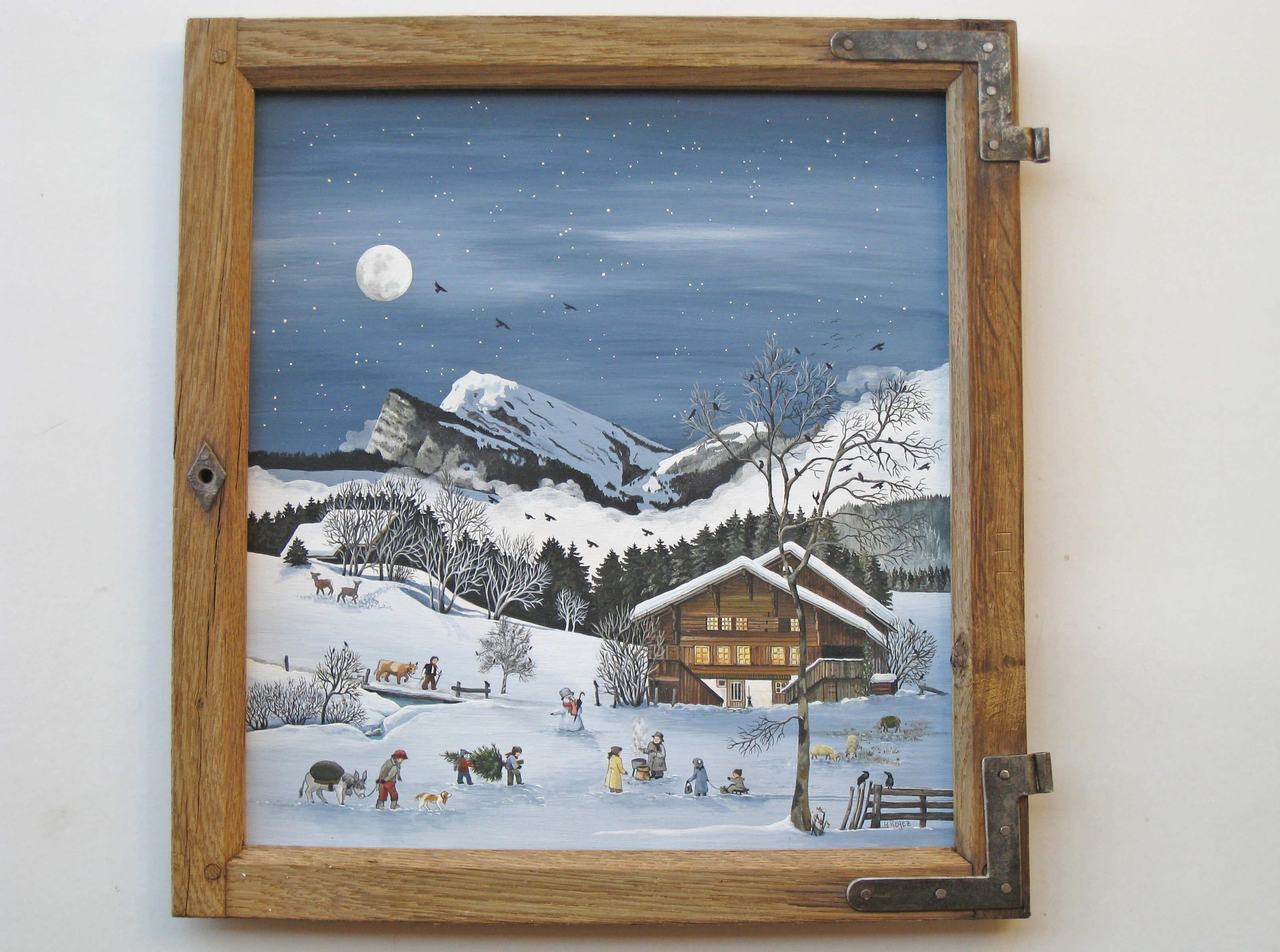 Sternenklare Winternacht mit Blick auf Schwarzenberg und Wiriehorn