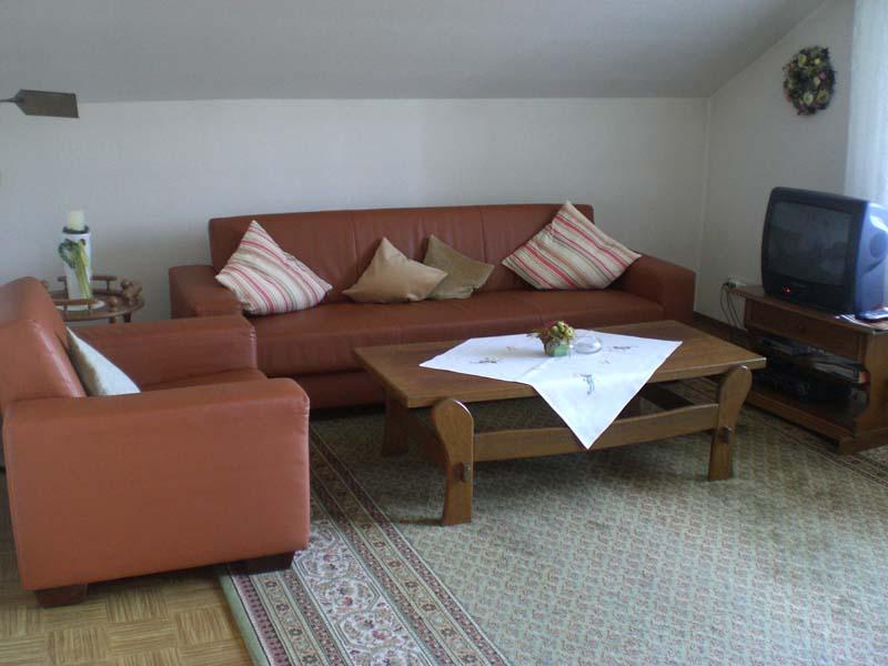 Wohnzimmer in der Ferienwohnung Haus Tusche