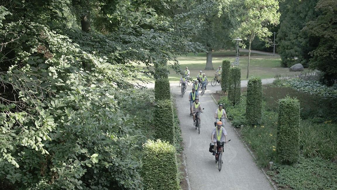 Fahrradfahrer Stadtpark