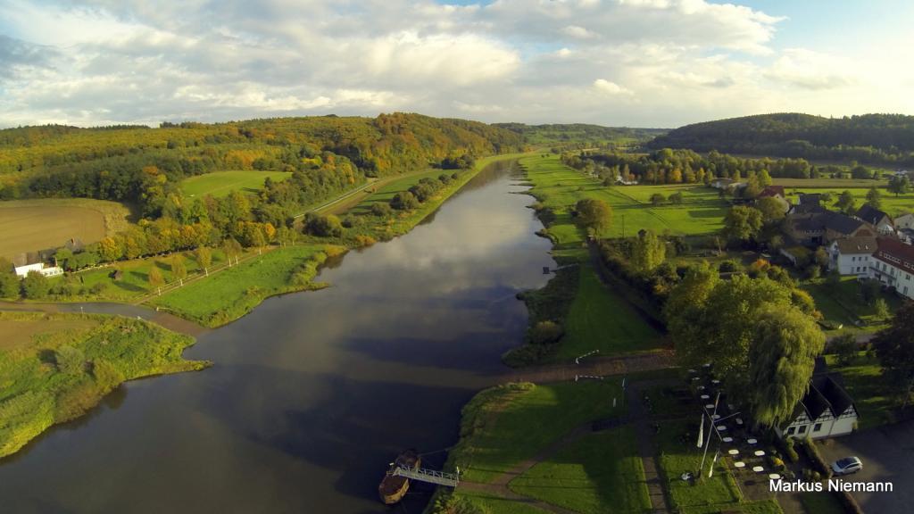 Weserhöhen Abendspaziergang Weserpartie Wehrden