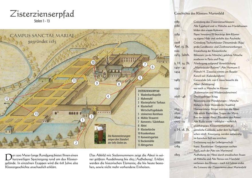 Zisterzienserpfad Kloster Marienfeld Faltblatt Stelen Seite 2