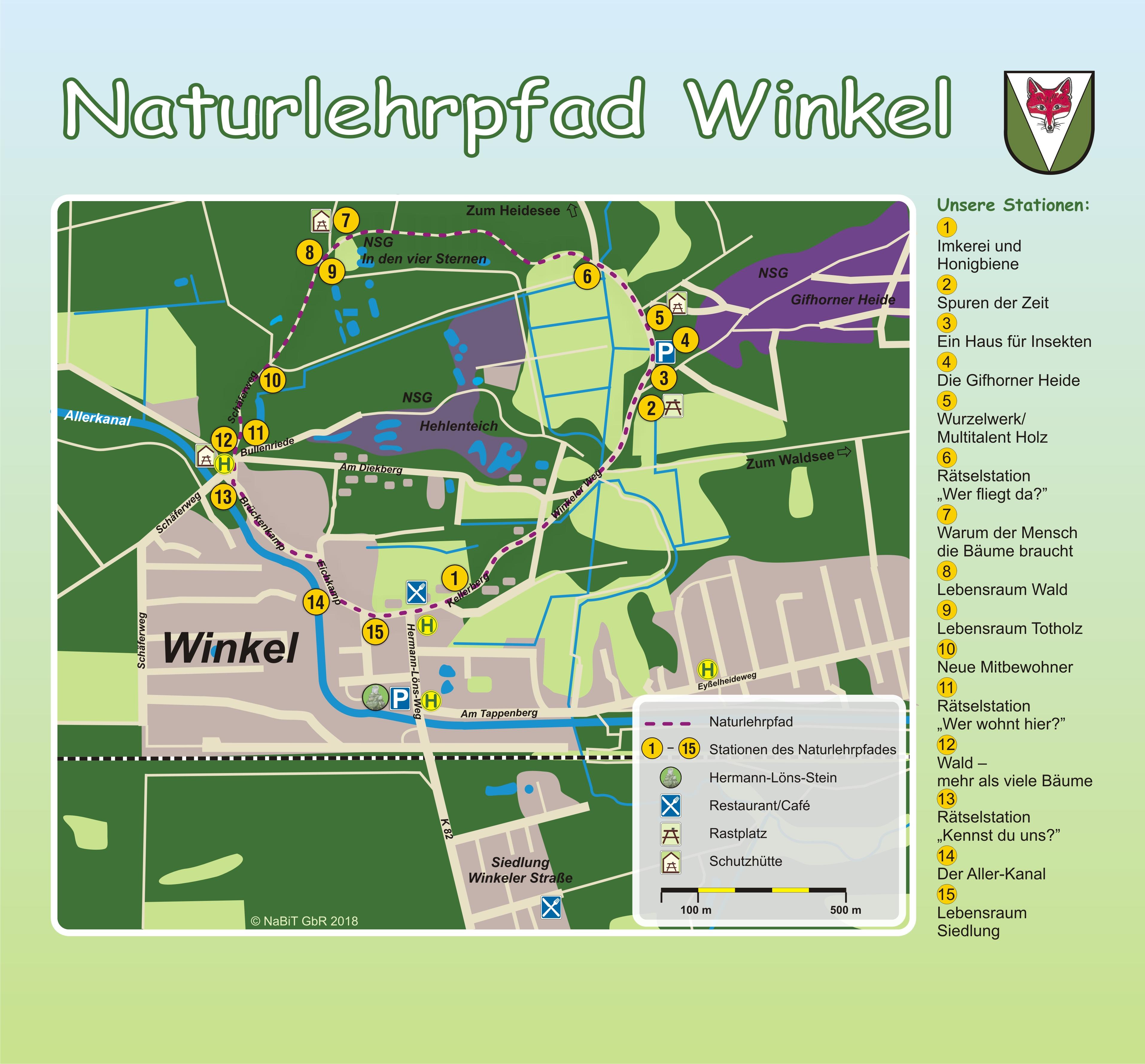 Lageplan Naturlehrpfad Gifhorn-Winkel