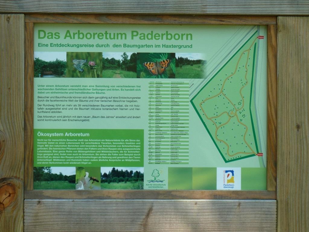 Arboretum Paderborn - Hinweistafel