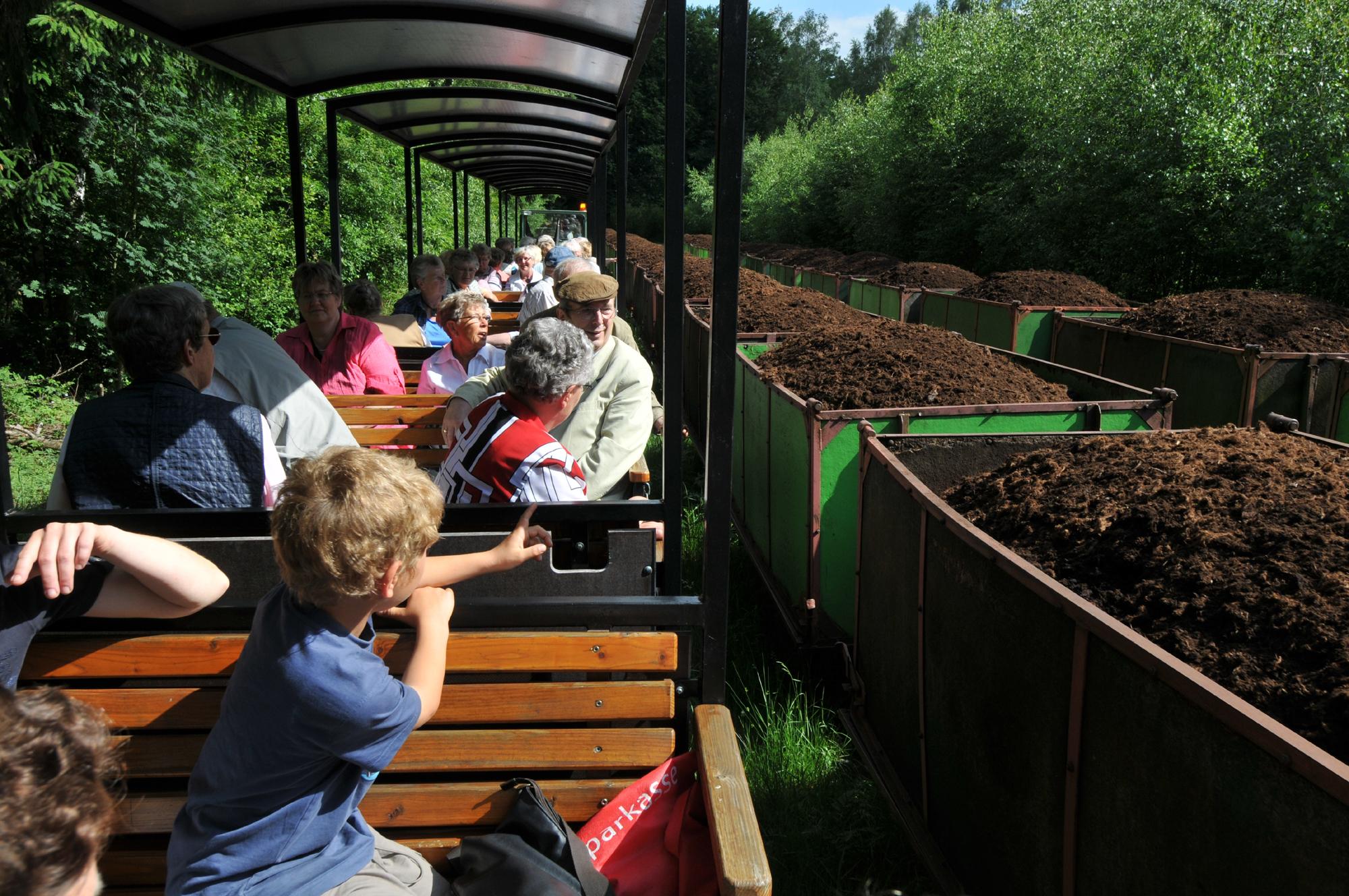 Fahrt mit der Moorbahn vorbei an Torf