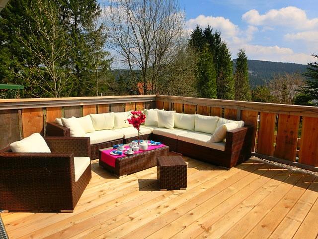 5 Sterne Blockhäuser in Hahnenklee - Balkon