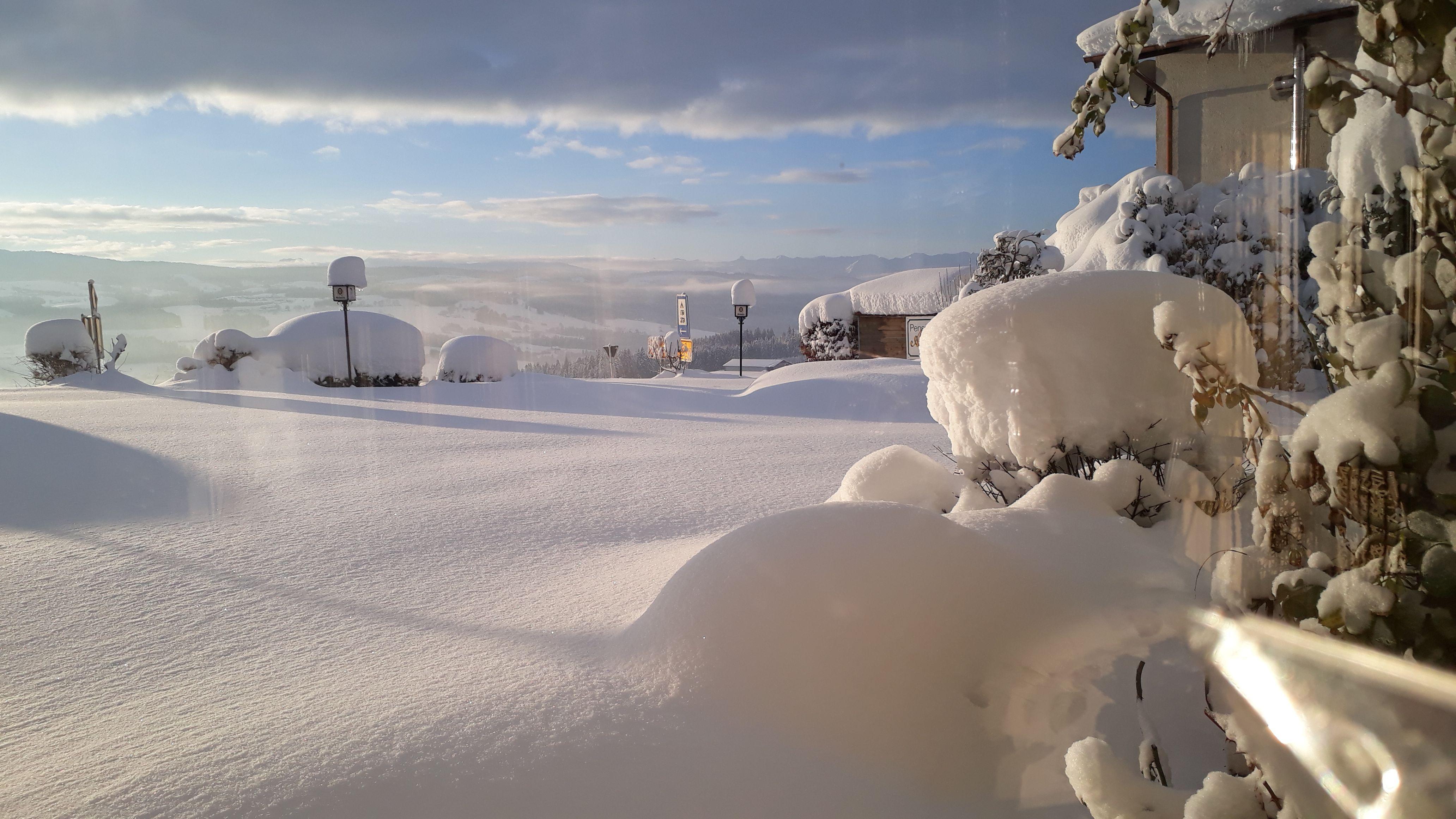 Alpenblick Pension-Gästehaus, Garten im Winter