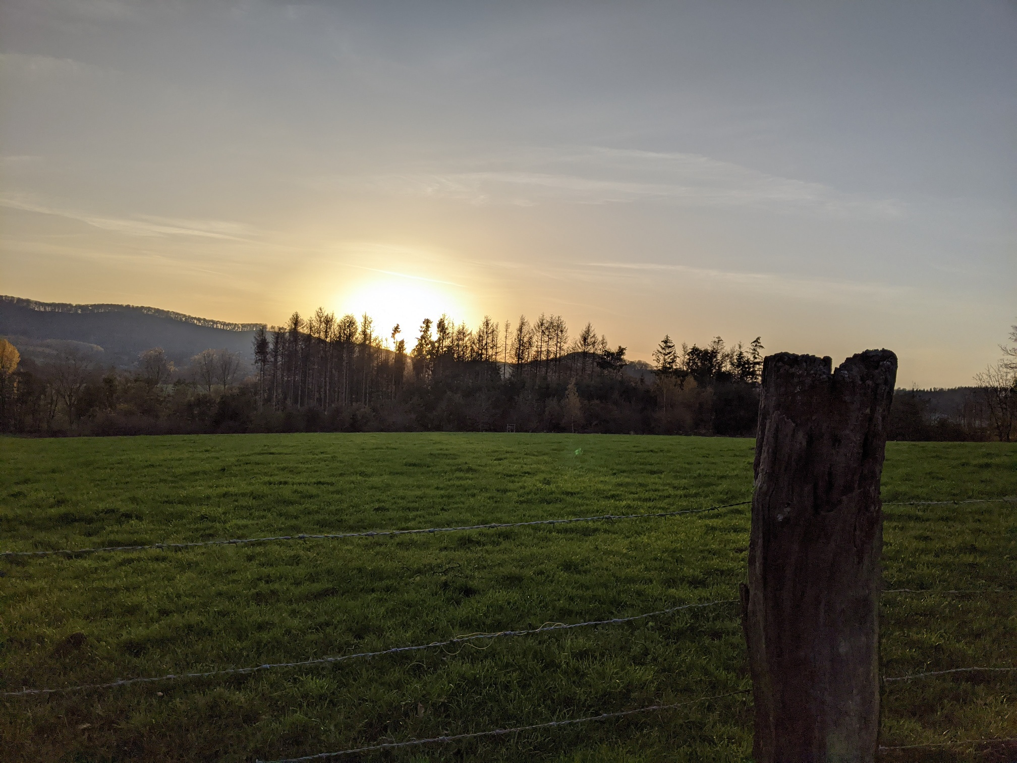 Sonnenuntergang entlang des Weges im Herbst