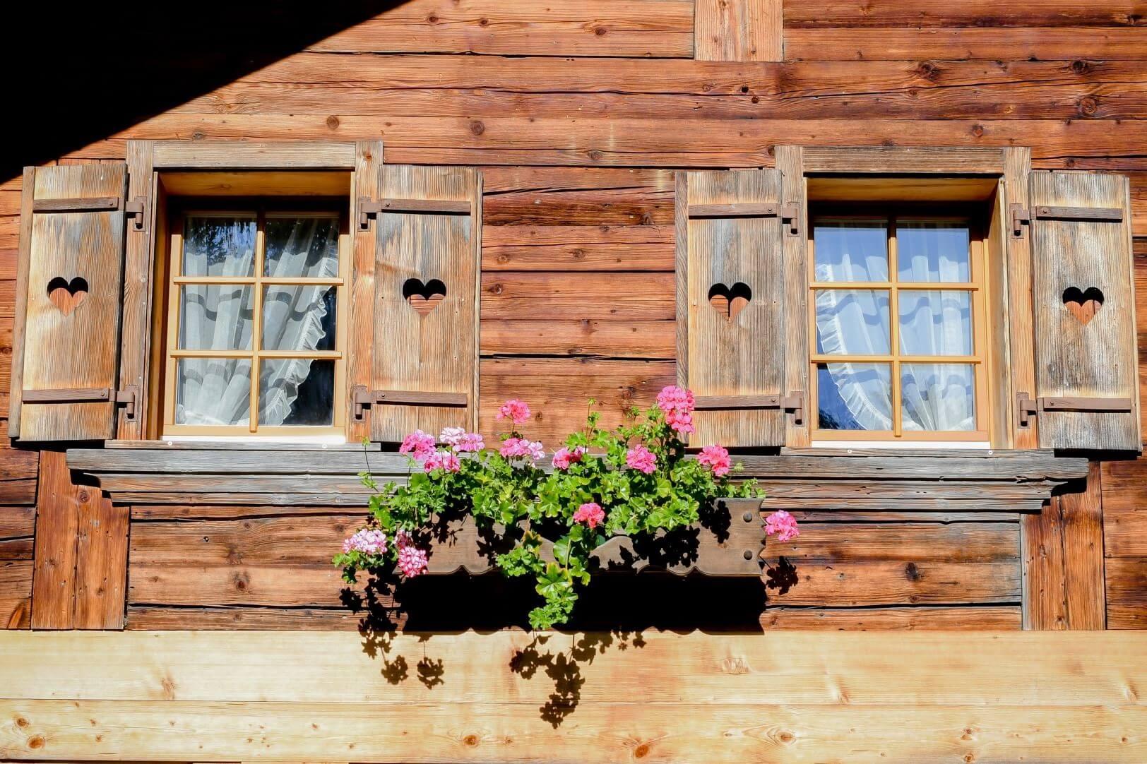 Fensterfront mit Geranien