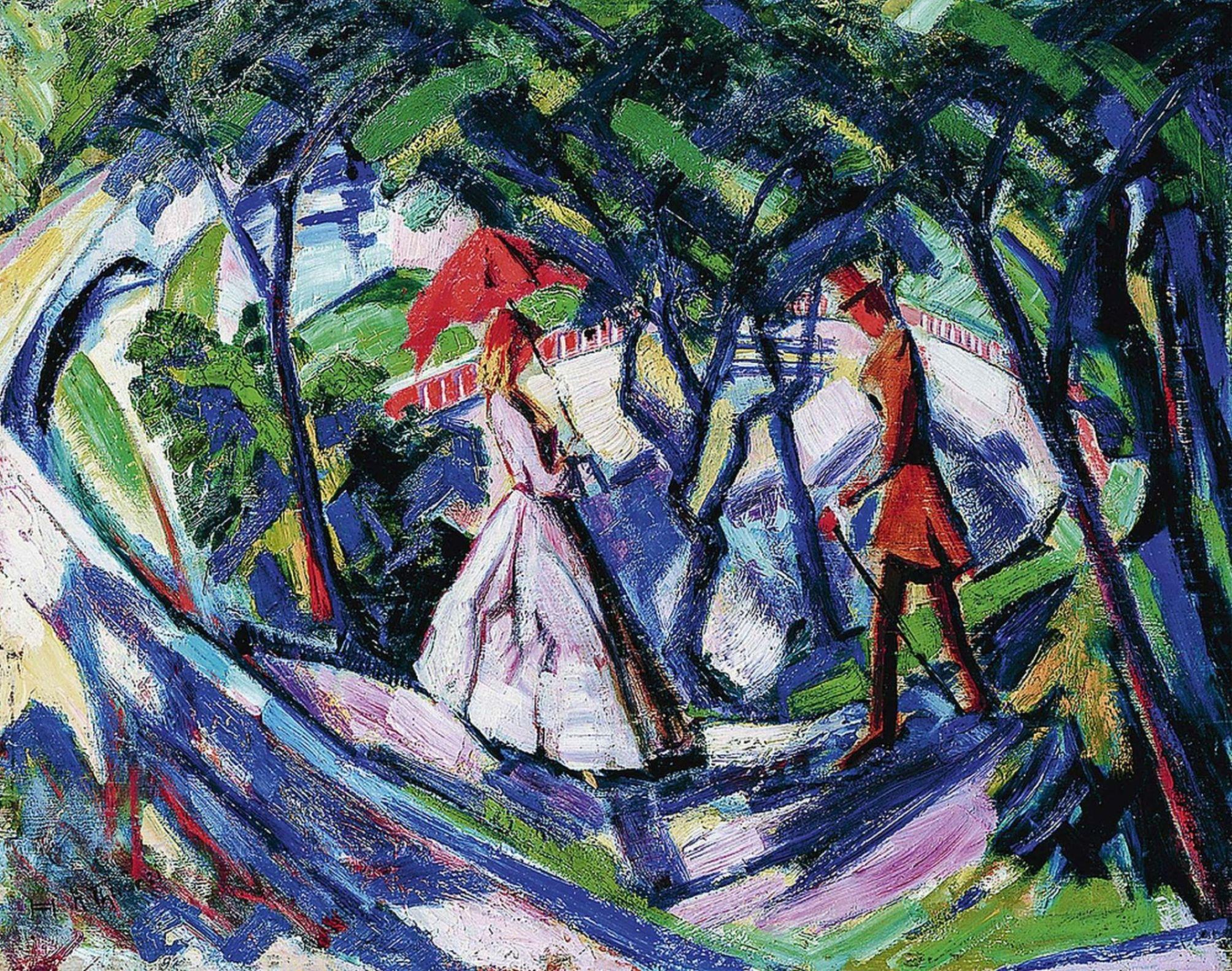 Hans Thuar - Begegnung im Park - 1921 - Öl auf Holz - ©Privatsammlung Düsseldorf