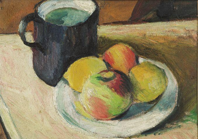 August Macke - Milchkrug und Apfel auf Teller - 1909 - ©Privatbesitz - Foto Margot Schmidt