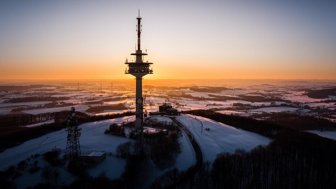 Sonnenaufgang am Köterberg (Luftaufnahme)