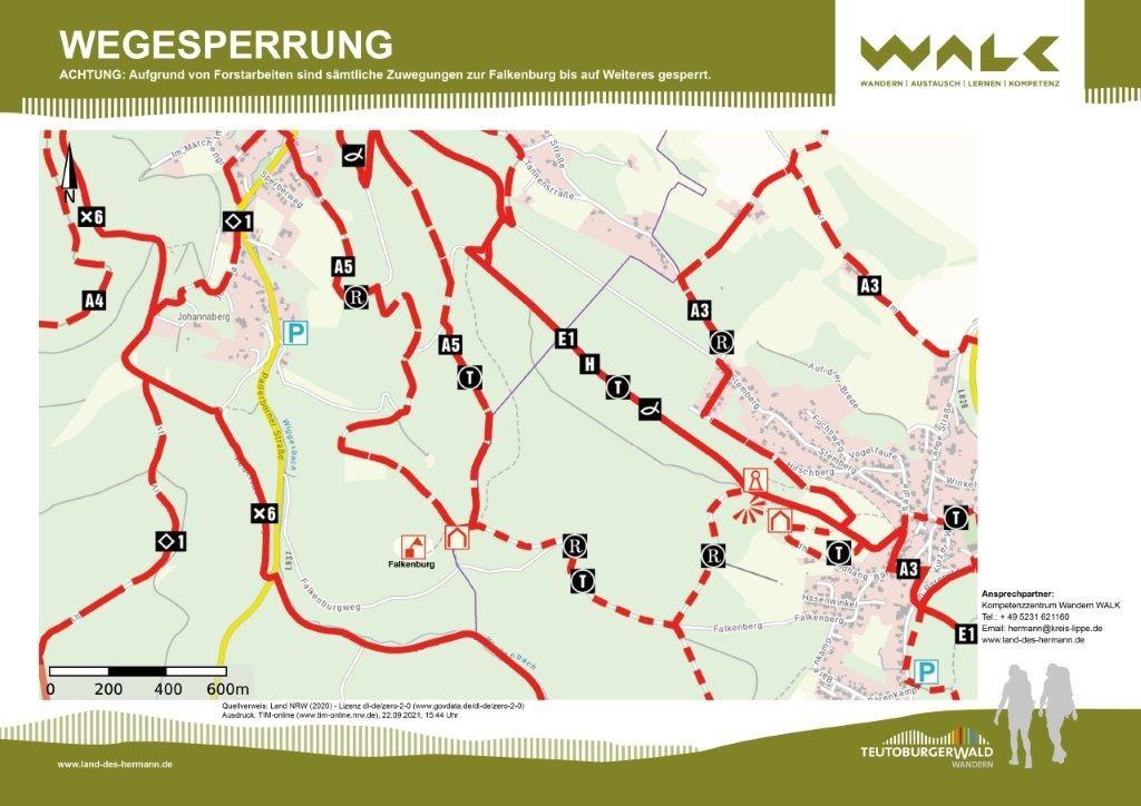 Aktuelle Wegesperrung rund um die Falkenburg