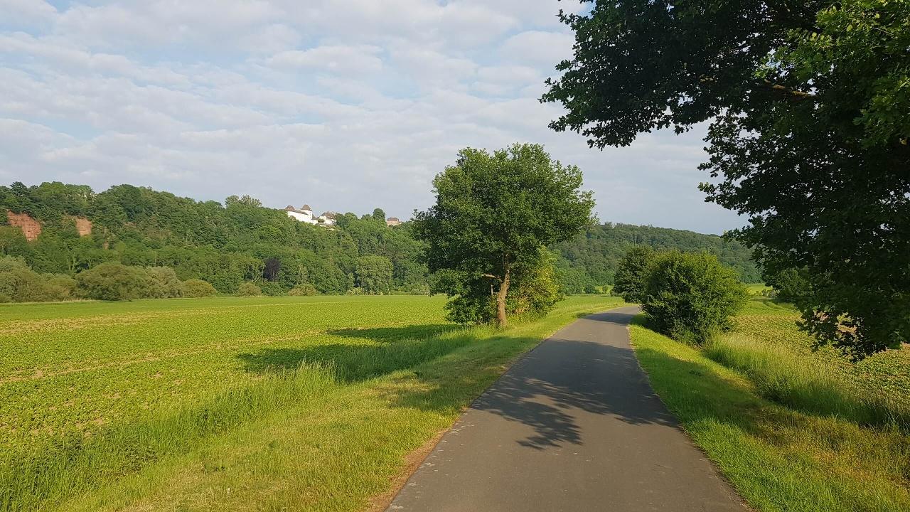 Weser-Radweg Blick auf Fürstenberg