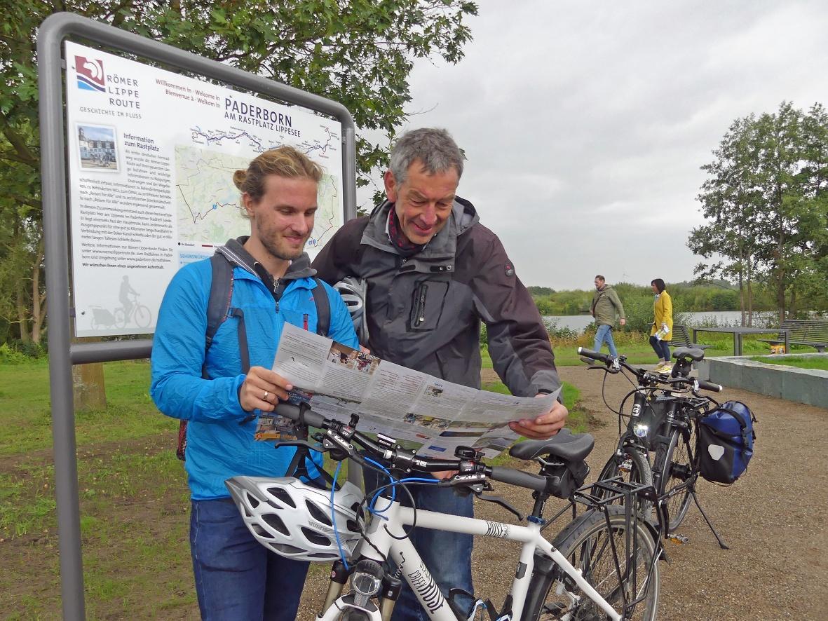 Inormationstafel zur Römer-Lippe-Route am Rastplatz