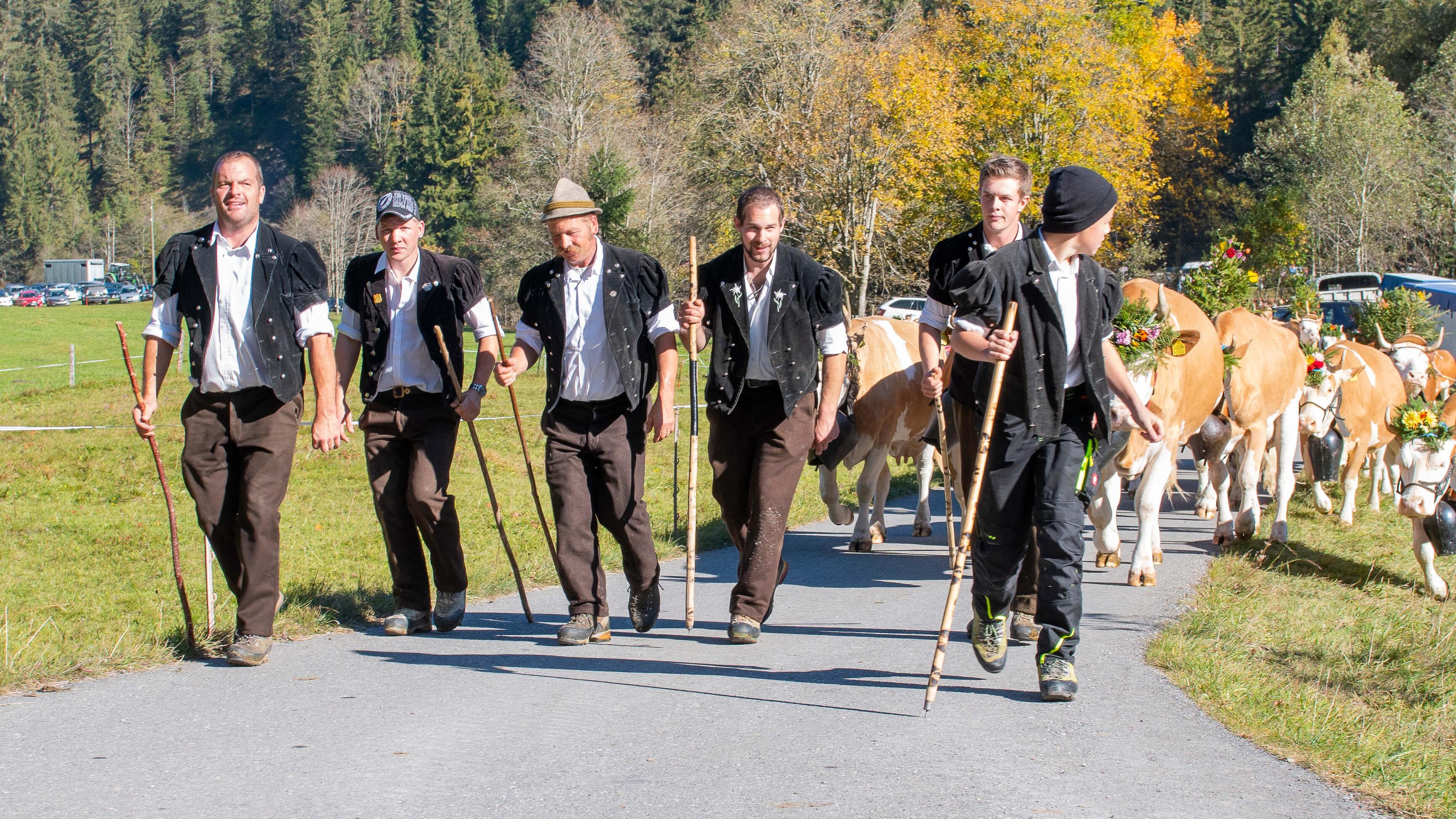 Grosse Züglete mit geschmückten Kühen an der Herbstviehschau Anger