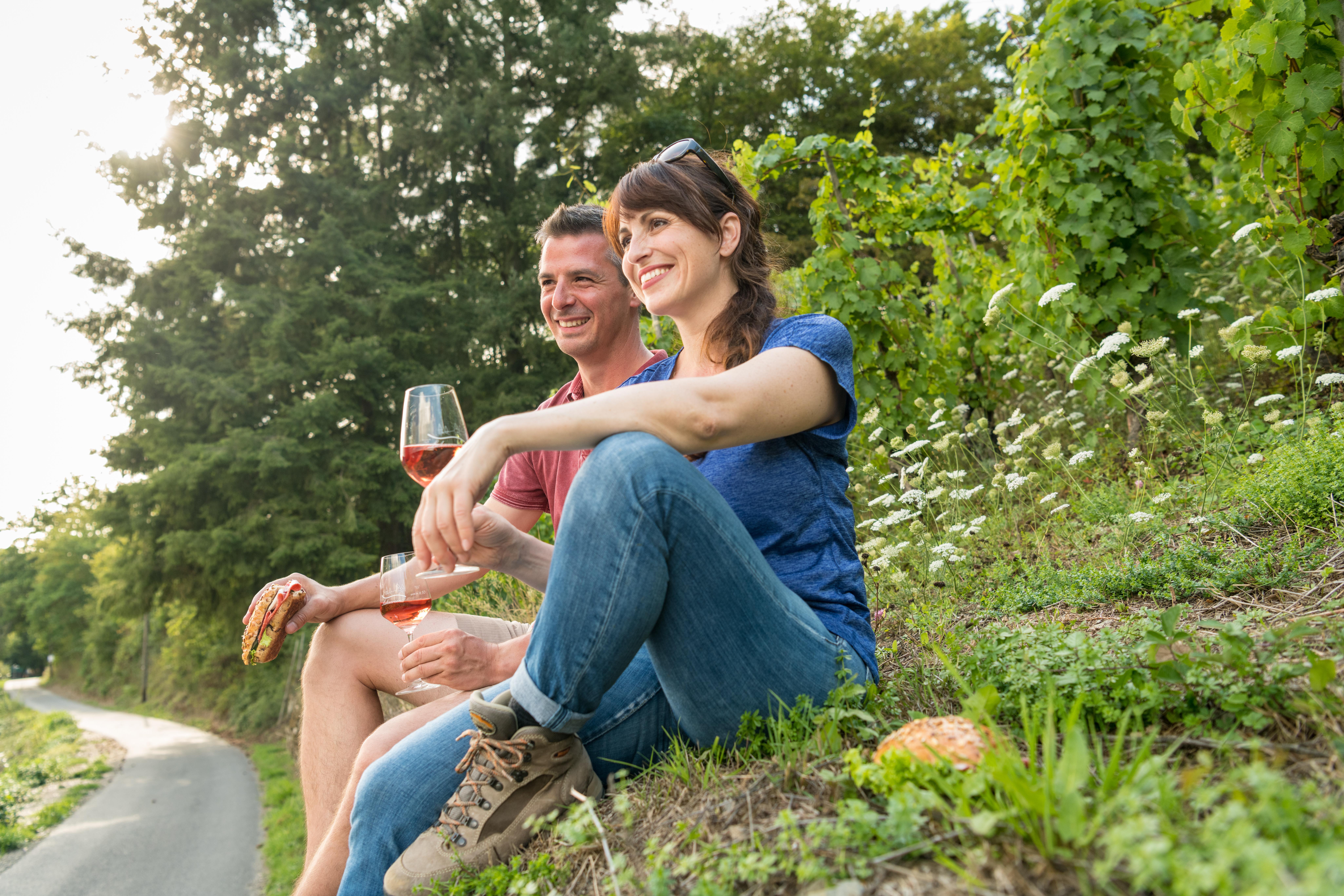Weinprobe im Weinberg