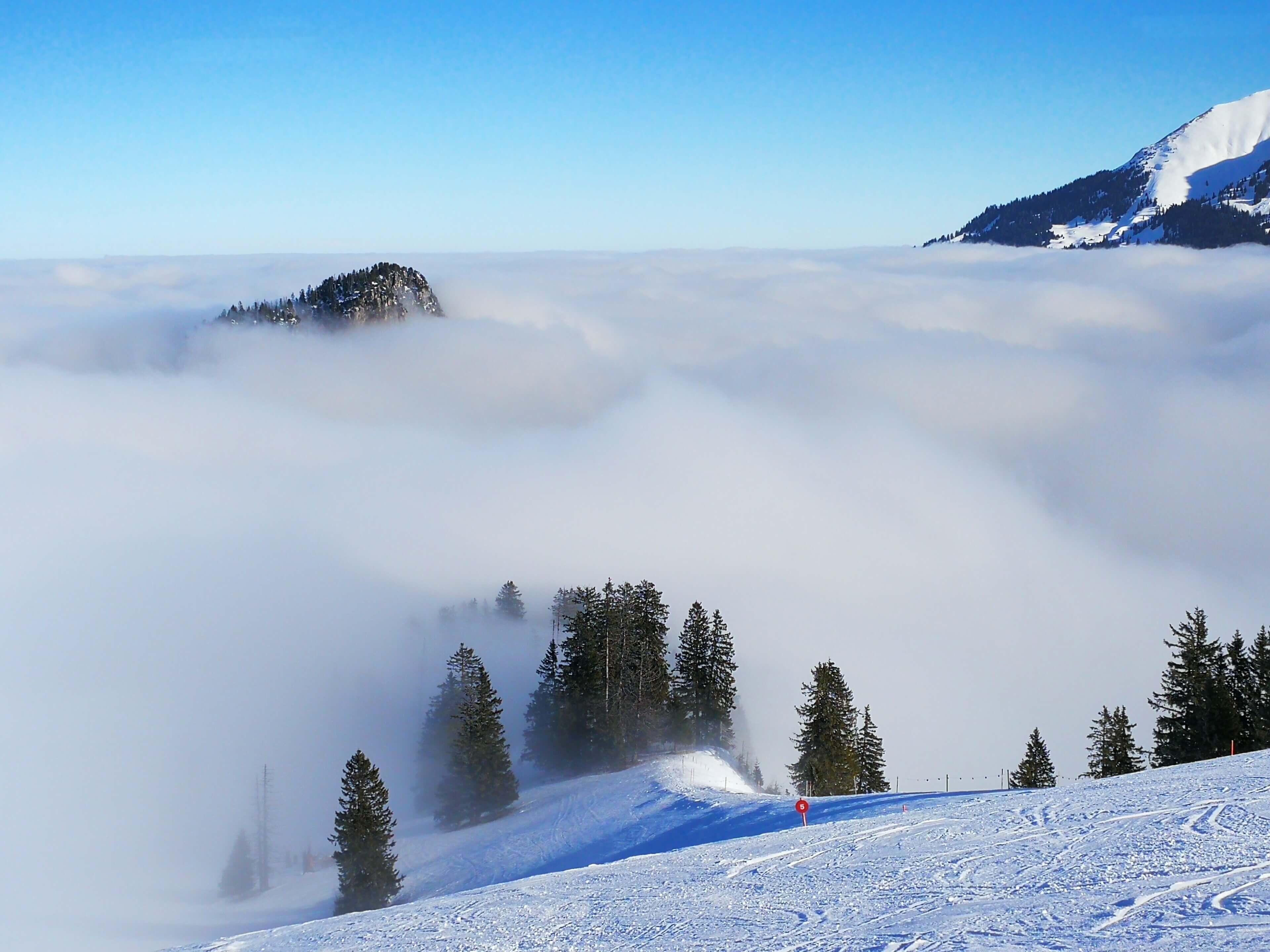 Vom Nebelmeer umgebener Schwarzenberg