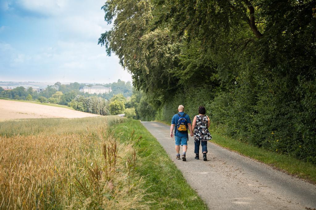 Wandern Richtung Fürstenberg, Blick auf Schloss Fürstenberg