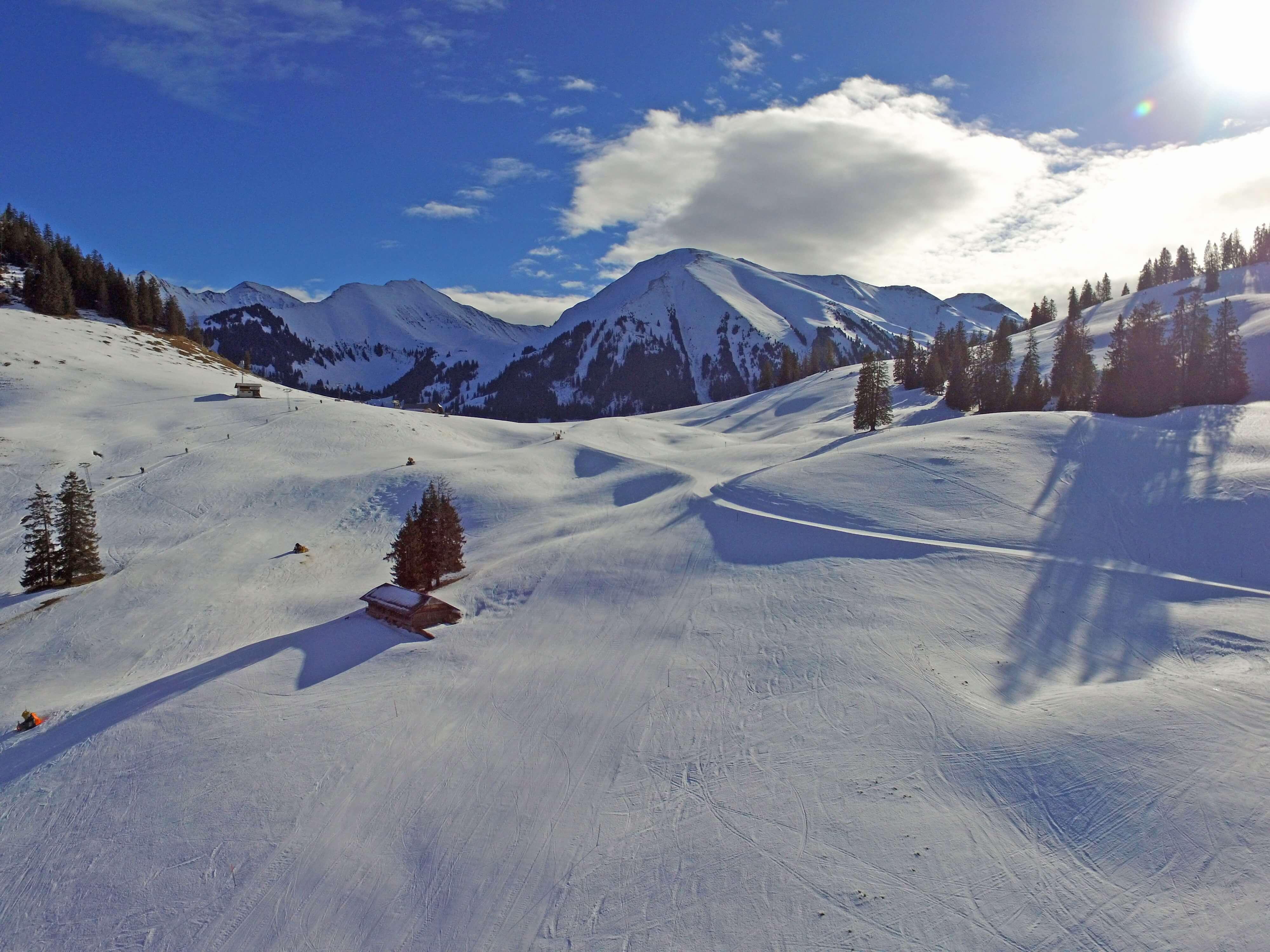 Blick auf das Wintersportgebiet Wiriehorn