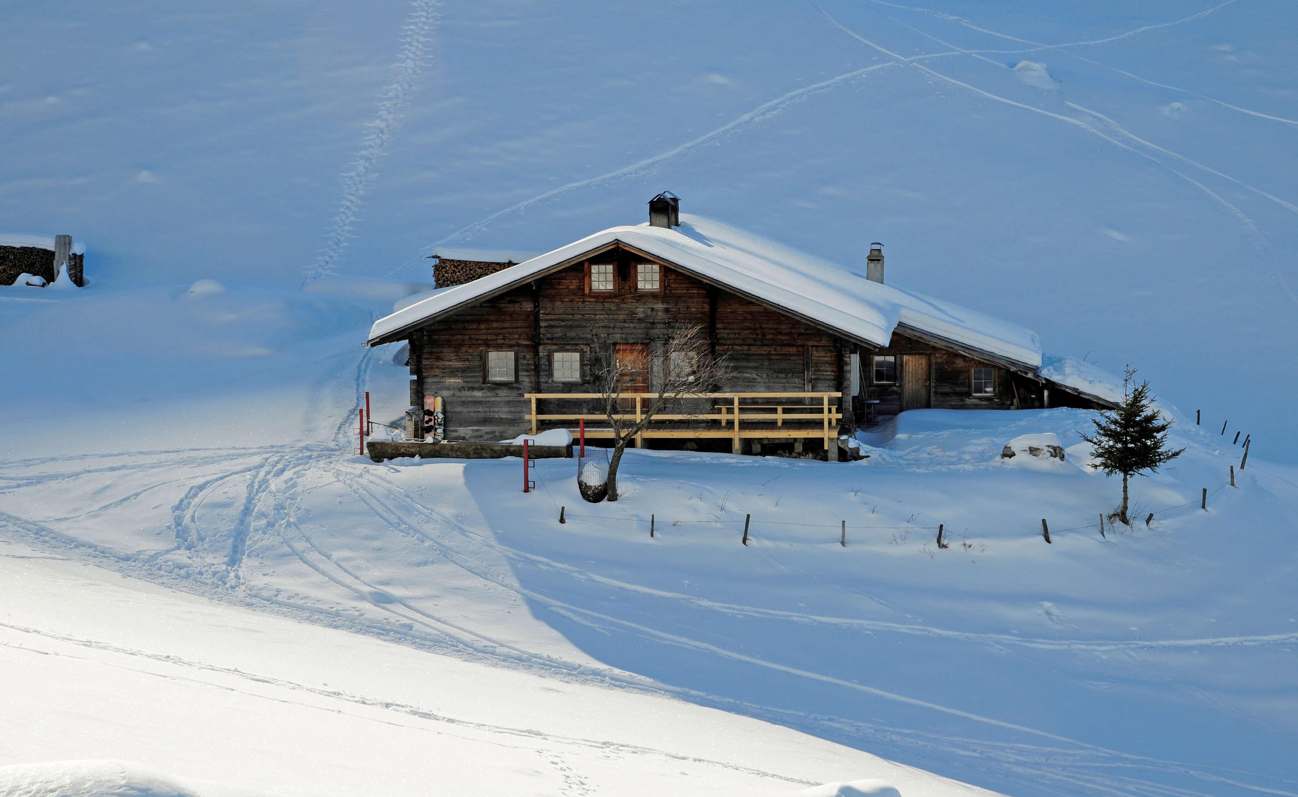 Sennhütte Ottenschwand Winter Aussenansicht