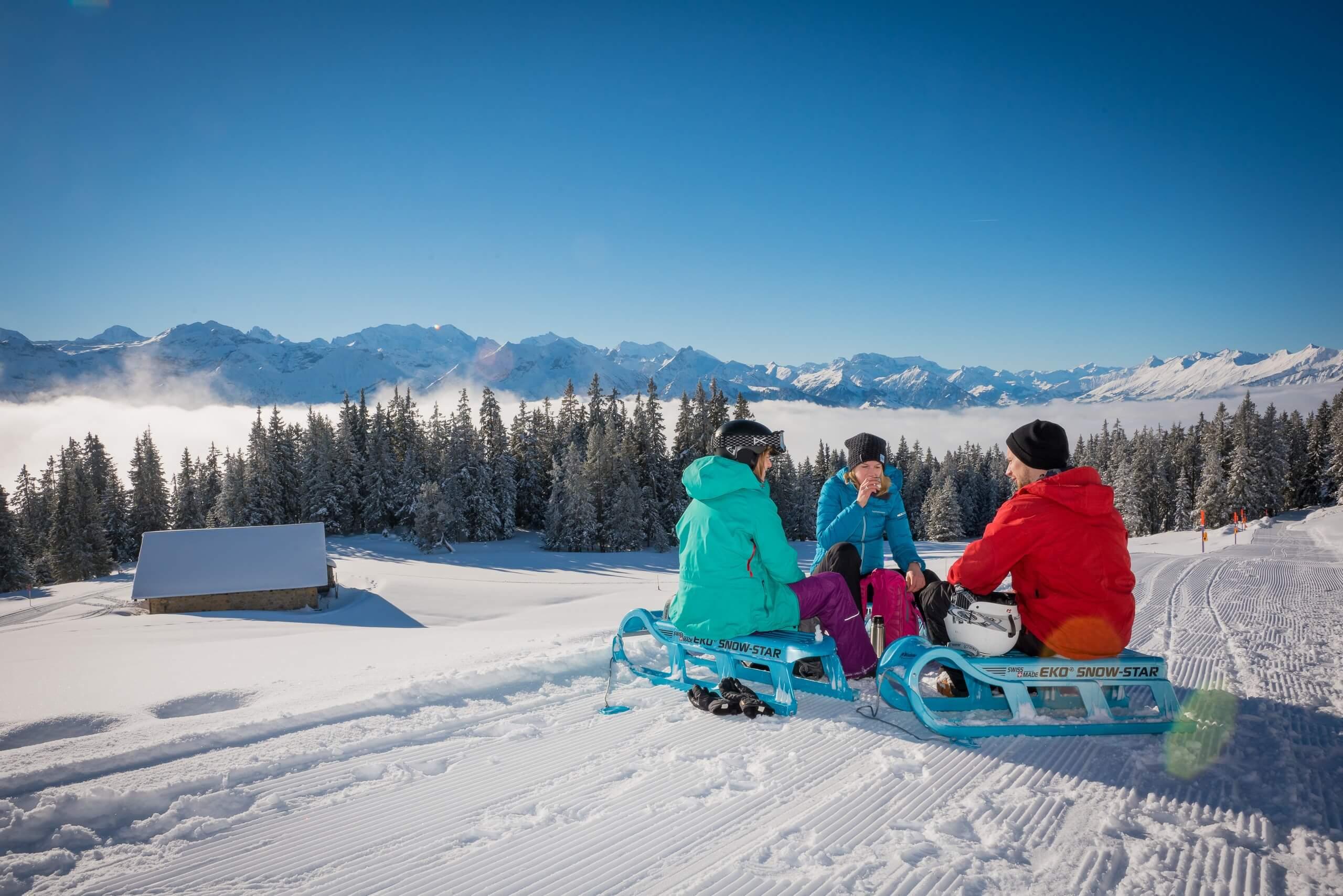 niederhorn-schlitteln-winter-nebelmeer-berge-panorama-geniessen-sitzen