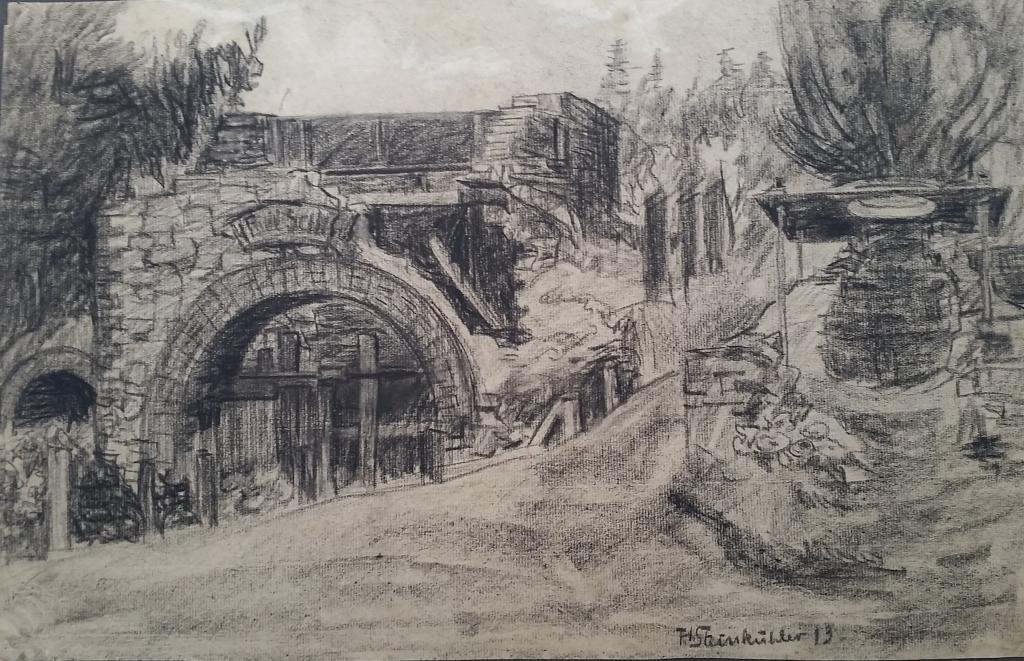 Die Kohlezeichnungen stammen von Theodor Steinkühler aus dem Jahre 1913. Es handelt sich um historische Zeichnungen der Zeche Dornberg.