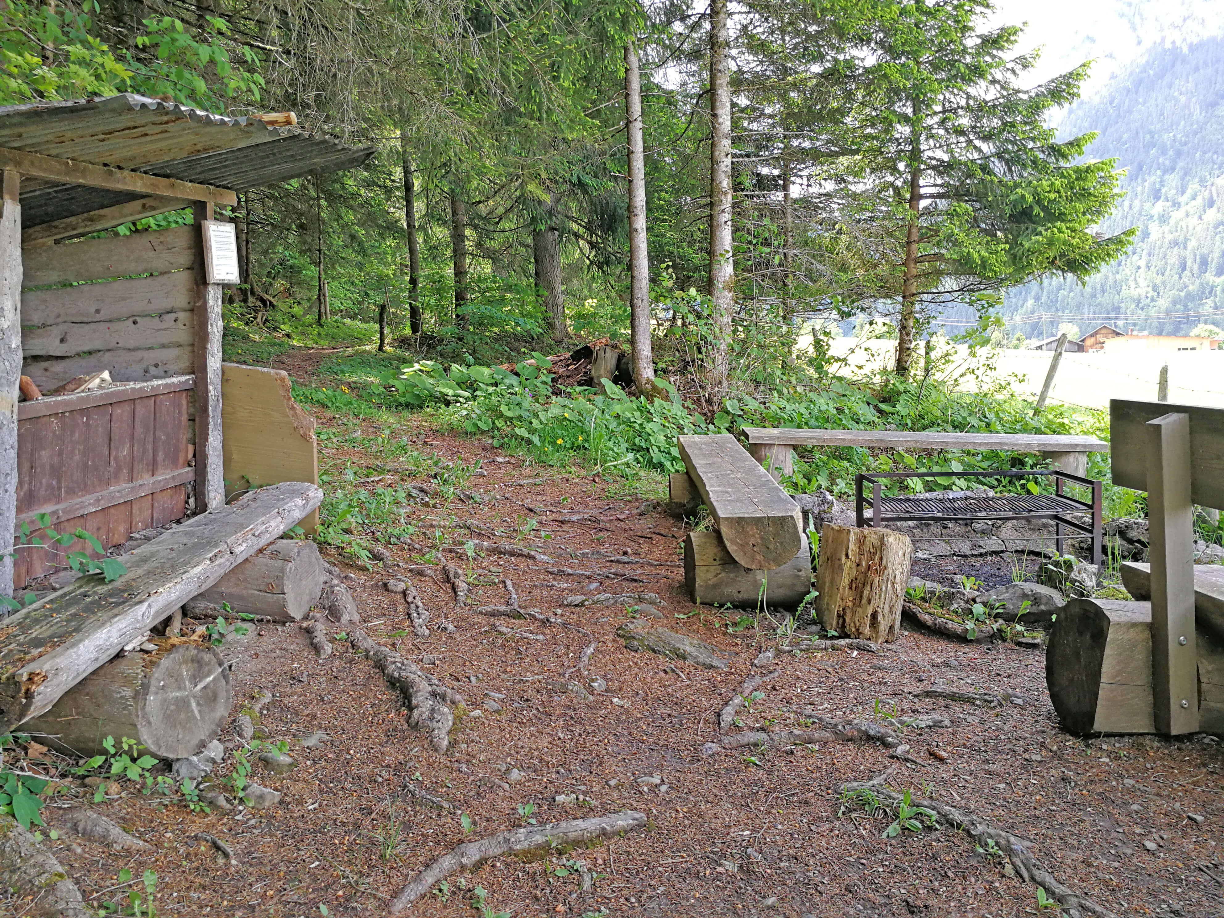 Feuerstelle mit genügend Feuerholz