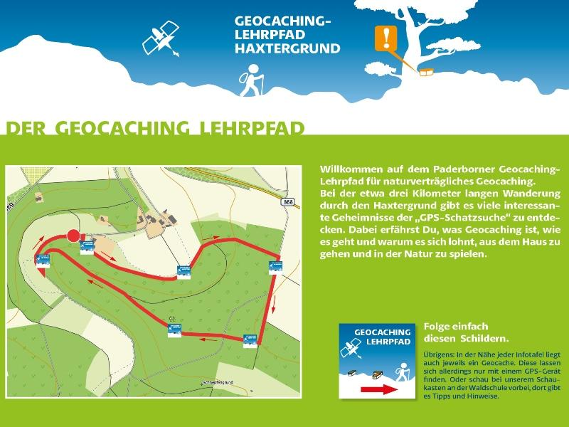 Infotafel Geocaching-Lehrpfad